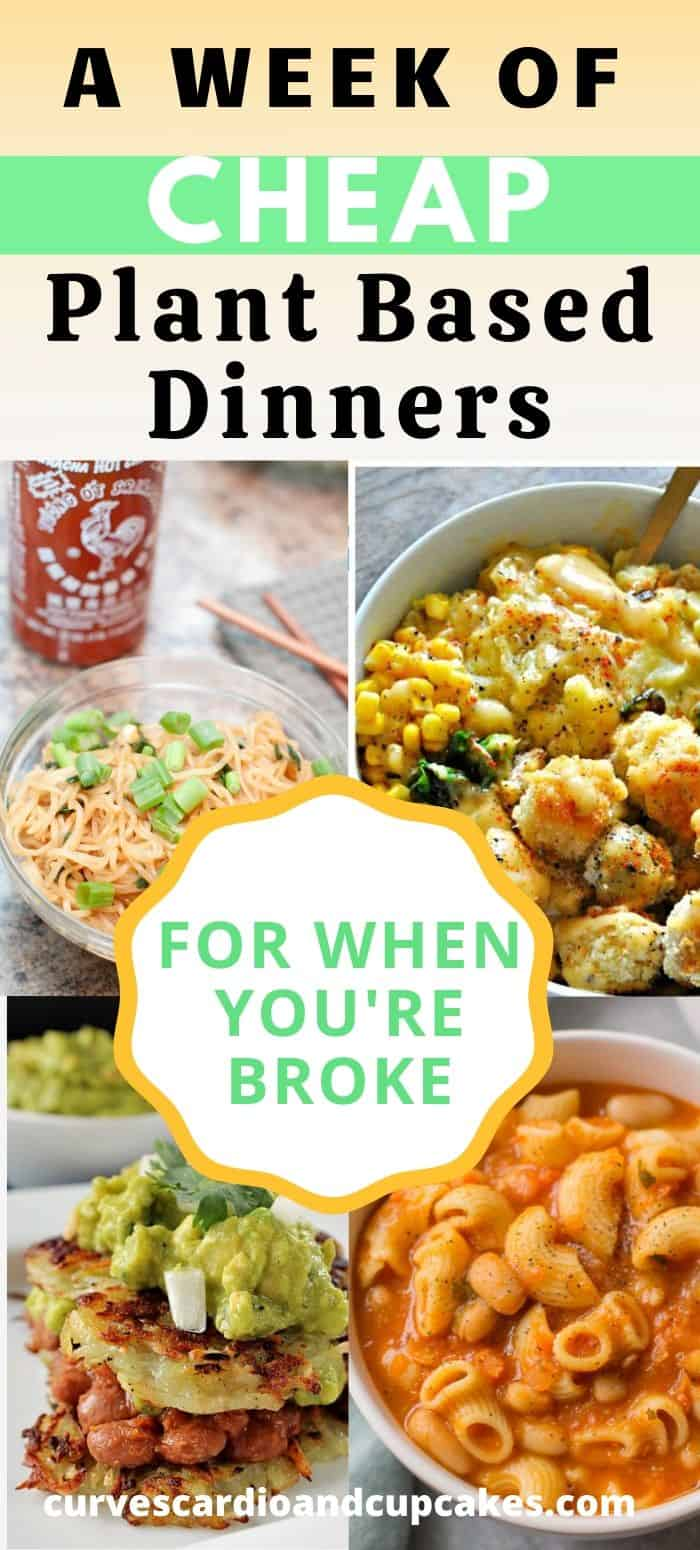 These frugal recipes for plant based dinners will allow you to feed you large family a healthy inexpensive meal. Cheap vegan dinners are a simple way to buy groceries on a budget and make homemade supper for two or for 5. Awesome and easy way to eat vegetarian dinner or Meatless Monday. #frugalvegandinners #cheapplantbasedmeals