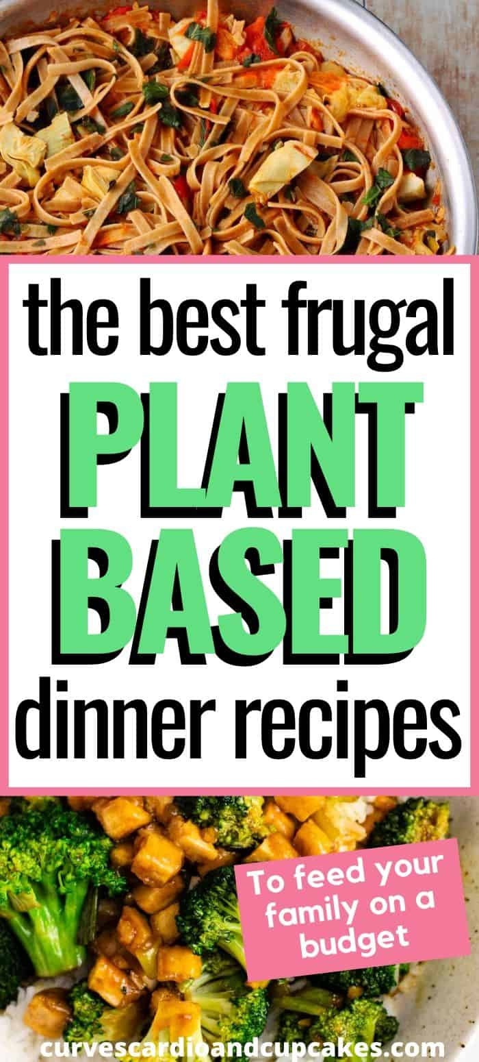 The week of cheap vegan dinners for a family on a budget. Plan your weekly vegetarian meals with these plant based inexpensive dinner recipes perfect for menu planning and saving money. Vegan main dish ideas that are quick and cost under $10. Saving money at the grocery store and frugal living is easy using these simple and easy pasta, rice, and bowls dinner recipes. #cheapdinnerideas #frugalmaindishes #plantbasedonabudget