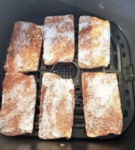 tofu slices with seasoning and cornstarch to get a meaty texture