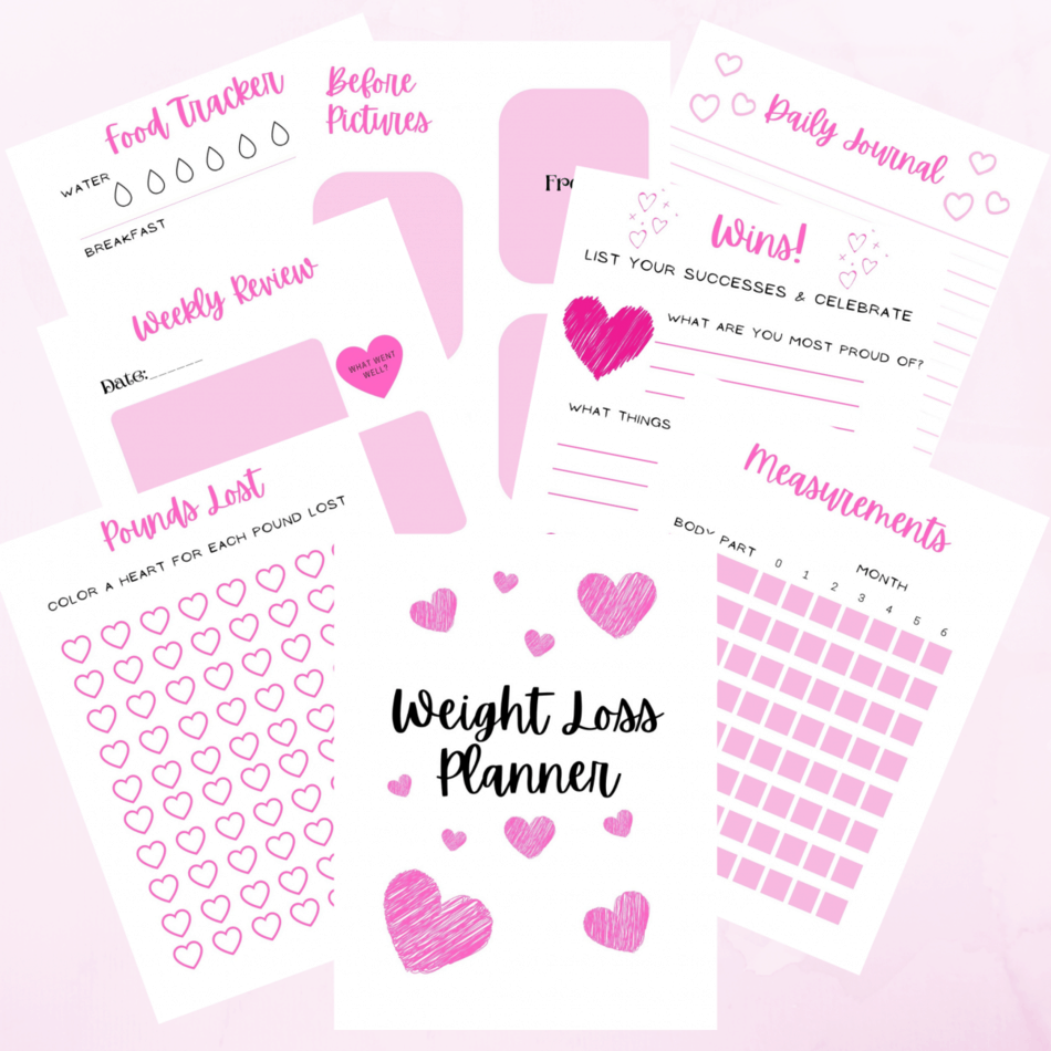 Weight loss planner with printable weight loss tracker, printable food tracker, printable measurement tracker, printable daily journal page